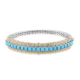 Arizona Sleeping Beauty Turquoise (Sqr) Bangle (Size 7) in Platinum and Yellow Gold Overlay Sterling Silver 5.250 Ct. Silver wt 22.00 Gms.