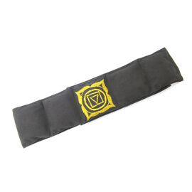 Shungite Back Belt  with chakra embroidery filled with shungite, Black Colour, 10 x 122 cm