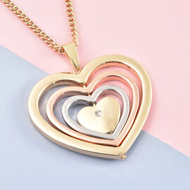 White Austrian Crystal Heart Pendant with Chain (Size 28 with 3 inch Extender) in Three Tone