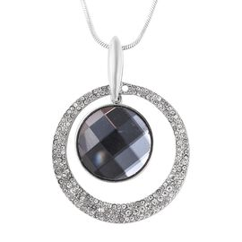 Simulated Grey Diamond (Rnd), White Austrian Crystal Pendant with Chain (Size 28 with 2 inch Extende
