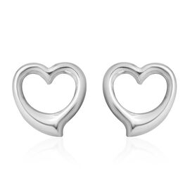 9K White Gold  Heart Shape Stud Earrings (With Push Back) ,  Gold Wt. 0.69 Gms