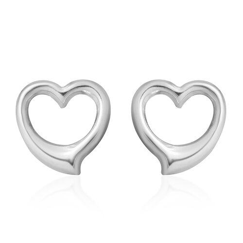 9K White Gold  Heart Shape Stud Earrings (With Push Back) ,  Gold Wt. 0.69 Gms