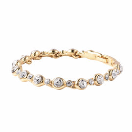 White Austrian Crystal Link Bracelet (Size 7) in Yellow Gold Tone