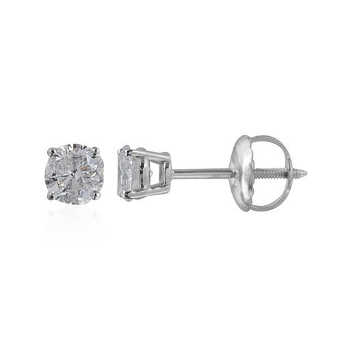 New York Close Out- 14K White Gold EGL Certified Diamond (Rnd) (I1-I2/G-H) Earrings (with Screw Back