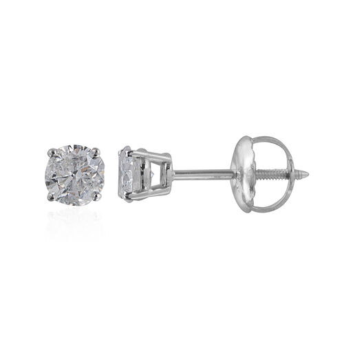 New York Close Out- 14K White Gold EGL Certified Diamond (Rnd) (I1-I2/G-H) Earrings (with Screw Back) 0.500 Ct.