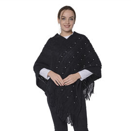 Knit Poncho with Beads (54x70cm) - Black