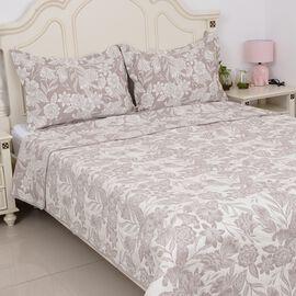 3 Piece Set - Riversible Pique with Floral Jacquard Pattern Beige (Size 260x240 Cm) and 2 Pillow Cov