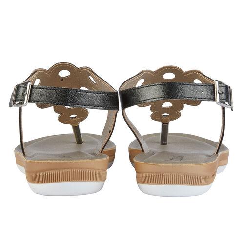Lotus Milan Toe-Post Sandals (Size 3) - Black