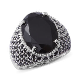 Boi Ploi Black Spinel (Ovl 16x12 mm) Ring in Rhodium Overlay Sterling Silver 11.800 Ct, Silver wt 6.61 Gms, Number of Gemstone 107