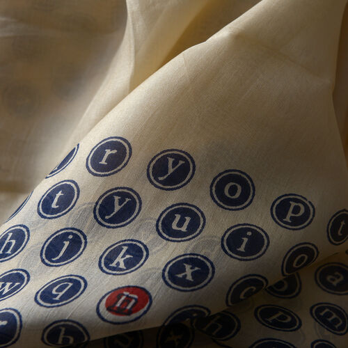 100% Mulberry Silk Alphabets Printed Beige and Blue Colour Pareo (Size 170x100 Cm)