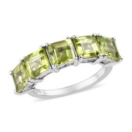 3.25 Ct Hebei Peridot 5 Stone Band Ring in Platinum Plated Sterling Silver