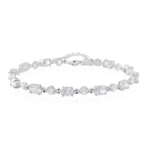 One Time Deal-ELANZA AAA Simulated White Diamond (Ovl and Rnd) Bracelet (Size 7 with 1 inch Extender) in Rhodium Plated Sterling Silver, Silver wt 4.00 Gms.