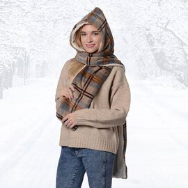 Ultra Soft Plaid Hooded Circle Scarf (Size 17x200cm) - Brown, Grey and Blue