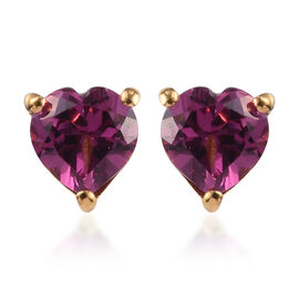 Rhodolite Garnet Heart Stud Earrings (with Push Back) in 14K Gold Overlay Sterling Silver1.00 Ct.