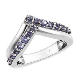 Tanzanite (Rnd) Wishbone Ring in Platinum Overlay Sterling Silver 0.750 Ct.