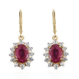 2.50 Carat African Ruby and Cambodian Zircon Drop Earrings in Gold Plated Sterling Silver