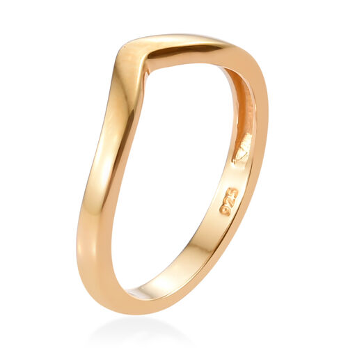 14K Yellow Gold Overlay Sterling Silver Wishbone V Shape Stacker Silver Ring