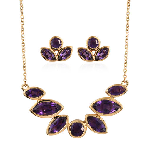 Amethyst (Mrq) Necklace with Chain (Size 18) and Stud Earrings (with Push Back) in 14K Gold Overlay