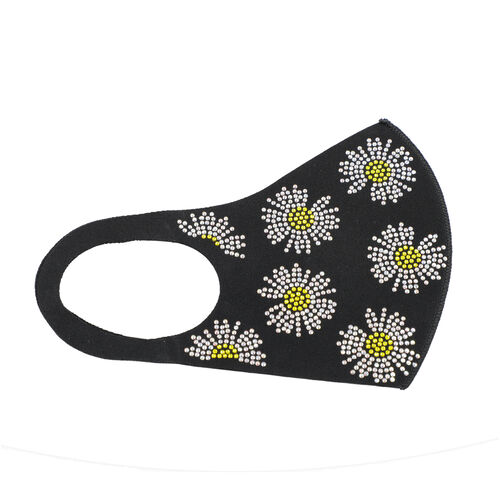 Reusable Fashion Face Covering With Rhinestones Crystals - Daisy Yellow