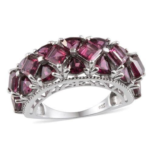 Rhodolite Garnet (Sqr) Ring in Platinum Overlay Sterling Silver 6.750 Ct.