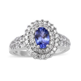 Tanzanite and Natural Cambodian Zircon Ring in Rhodium Overlay Sterling Silver 1.91 Ct.