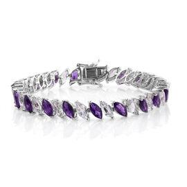 Amethyst (Mrq), White Topaz Tennis Bracelet (Size 7.25) in Platinum Overlay Sterling Silver 21.750 Ct. Silver wt 15.20 Gms.
