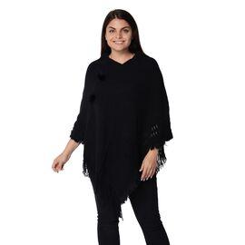 Knit Poncho with Pom Pom and Tassel (Size 90x75 Cm) - Black