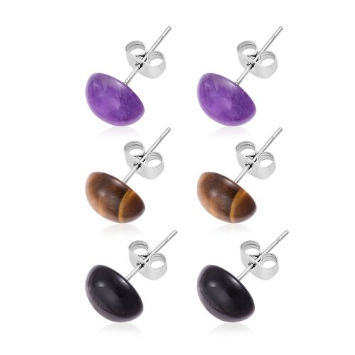 One Time Deal-Amethyst, Black Agate and Tigers Eye Stud Earrings (with Push Back) in Stainless Steel 21.000 Ct.