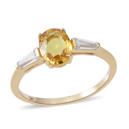 9K Yellow Gold AA Chanthaburi Yellow Sapphire (Ovl 1.60 Ct), Natural White Cambodian Zircon Ring 2.000 Ct.