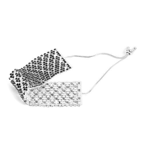 Black Austrian Crystal (Rnd) Bracelet (Size 6) in Silver Tone
