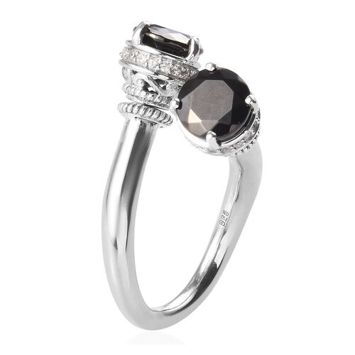 Elite Shungite and Natural Cambodian Zircon Bypass Ring with Detachable Stud Earrings (with Push Back) in Platinum Overlay Sterling Silver 2.53 Ct, Silver wt 7.40 Gms