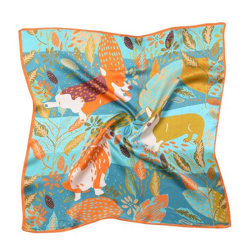 LA MAREY Pure 100% Mulberry Silk Scarf in Pembroke Welsh Corgi Print