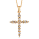 Diamond (Rnd and Bgt) Cross Pendant with Chain (Size 20) in 14K Gold Overlay Sterling Silver 0.24 Ct