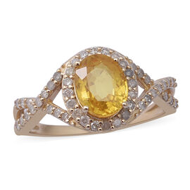 9K Yellow Gold Yellow Sapphire and Diamond (0.60 cts) Ring 2.88 Ct.