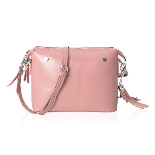 Maddie 100% Genuine Leather Pink Colour Crossbody Bag with Removable Shoulder Strap (Size 24x18x10 Cm)