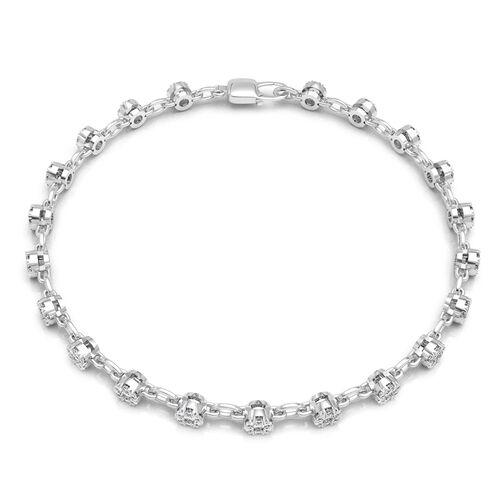 1 Carat Diamond Bracelet in 14K White Gold 4.5 Grams I1-I2 GH 7 Inch