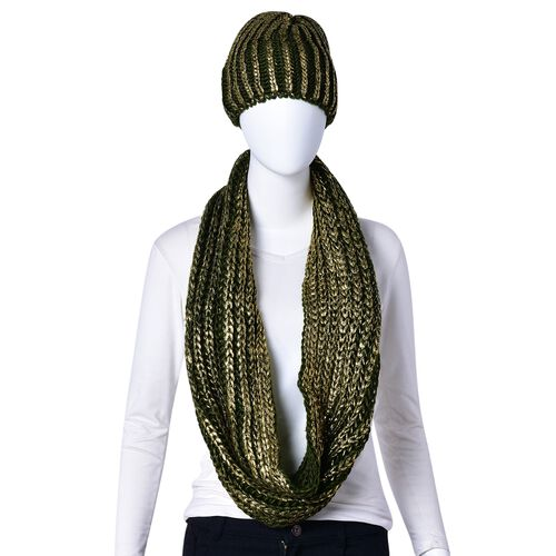 Golden and Green Colour Knitted Wheat Pattern Infinity Scarf (Size 56X27 Cm) and Slouchy Hat (Size 20x20 Cm)