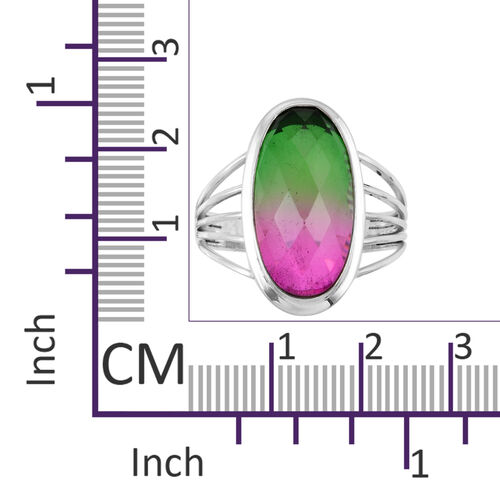 Royal Bali Collection Tourmaline Colour Quartz (Ovl) Ring in Sterling Silver 10.880 Ct. Silver wt 4.72 Gms.