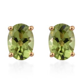 Hebei Peridot (Ovl) Stud Earrings (with Push Back)  in 14K Gold Overlay Sterling Silver 1.500 Ct.