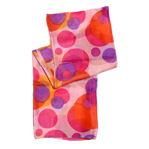 100% Mulberry Silk Light Pink, Red and Multi Colour Handscreen Overlapped Circle Printed Scarf (Size 180x100 Cm)