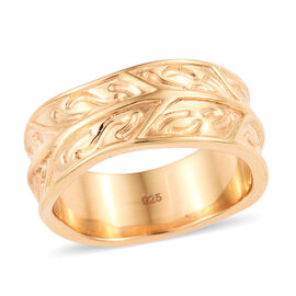 14K Gold Overlay Sterling Silver Engraved Leaf Design Band Ring