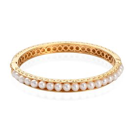 Freshwater Pearl Bangle (Size 7.5) in 18K Yellow Gold Plated