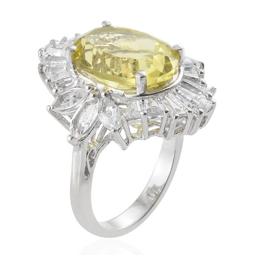 Natural Ouro Verde Quartz (Ovl 5.80 Ct), White Topaz Ring in Platinum Overlay Sterling Silver 9.000 Ct.