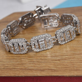 J Francis Platinum Overlay Sterling Silver Bracelet Made with SWAROVSKI ZIRCONIA 15.37 Ct, Silver wt 22.00 Gms