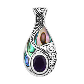 Royal Bali Collection - Amethyst (Ovl), Abalone Shell Pendant in Sterling Silver 2.471 Ct.