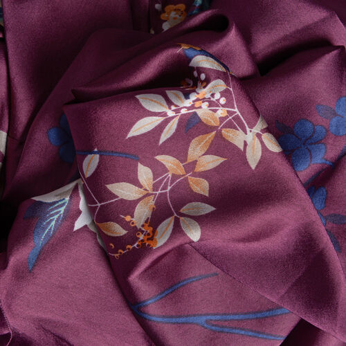 Purple, White and Multi Colour Flower and Leaves Pattern Apparel (Free Size)