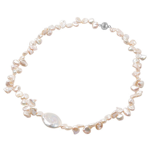 Baroque White Pearl Beaded Necklace in Rhodium Plated Sterling Silver 20 Inch