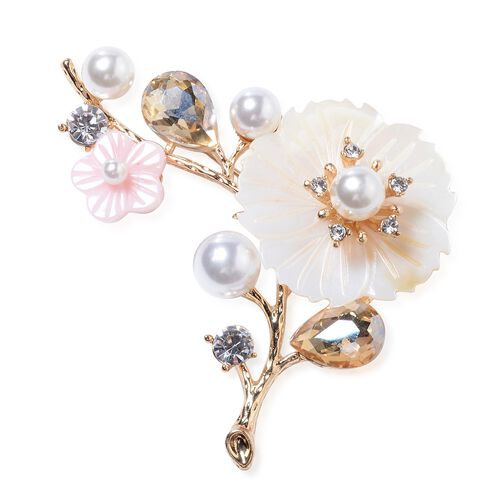 Simulated Champagne Diamond (Pear), Simulated Pearl, Natural Color Shell, White Austrian Crystal Flower Bouquet Brooch in Yellow Bond