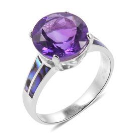 Royal Bali Collection Amethyst (Rnd 6.25 Ct), Abalone Shell Ring in Sterling Silver 8.250 Ct.
