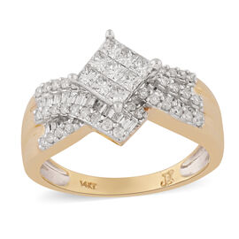 14K Yellow Gold Natural White Diamond Ring 0.99 ct, Gold Wt. 5.30 Gms